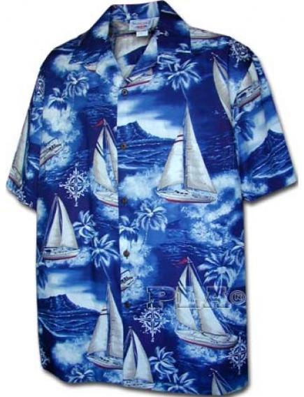 Рубашка гавайка Pacific Legend 410-3610 navy