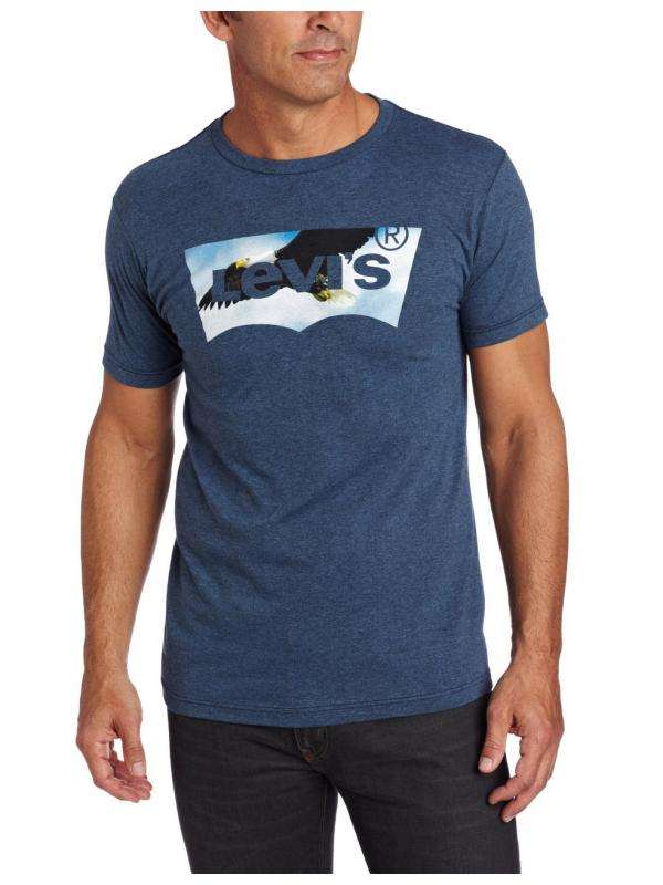 Футболка Levis Mens Beaker T-Shirt, Indigo/Black Heather
