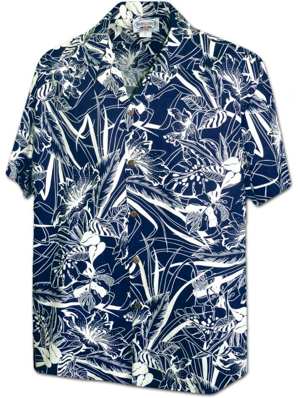 Рубашка гавайка Pacific Legend 410-3904 Navy