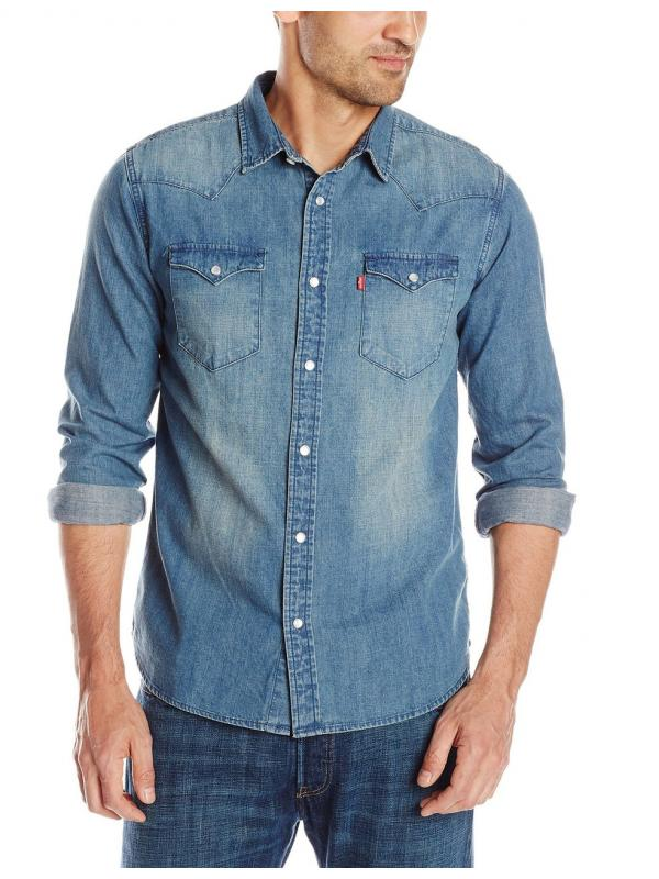Рубашка джинсовая Levis Mens Standard Barstow Denim Western Snap-Up Shirt new