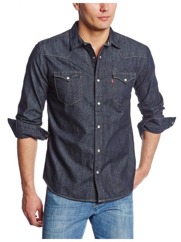 Рубашка джинсовая Levis Mens Standard Barstow Denim Western Dark Rinse 3LYLW2262 DKR