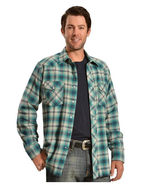 Рубашка Wrangler Mens Blue And Gray Plaid Flannel Shirt Grey