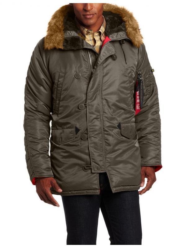 Куртка Alpha Slim Fit N-3B Parka - Replica Grey/Orange new
