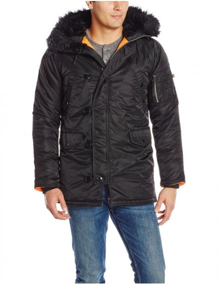 Куртка Alpha Slim Fit N-3B Parka - Black/orange