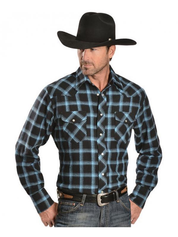 Рубашка Wrangler Two-Tone Blue Plaid 4.5 oz. Flannel Western Shirt - Reg
