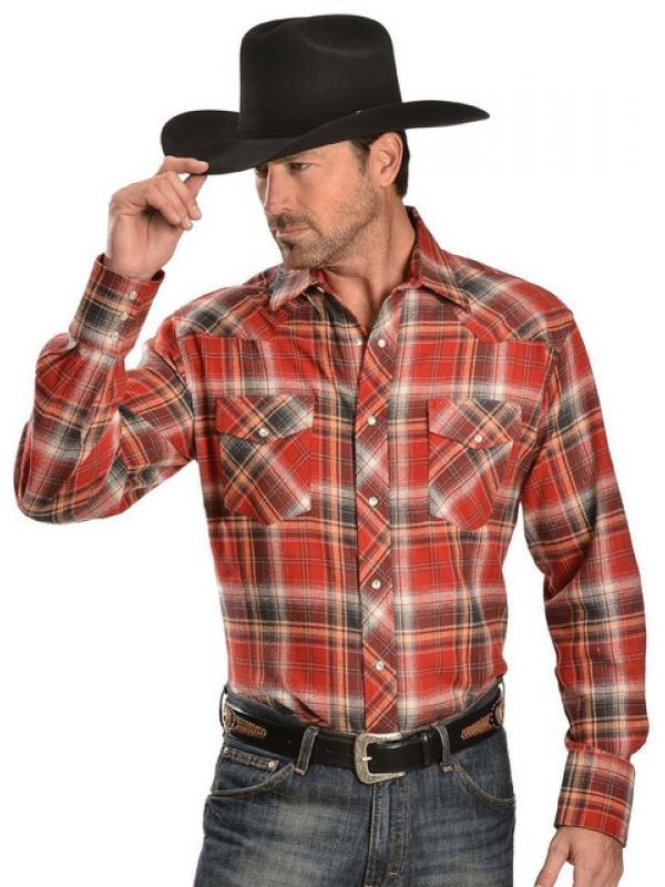 Рубашка Wrangler Mens Plaid 4.5 Oz. Flannel Western Shirt Reg Red