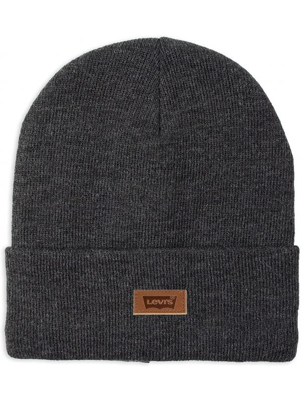 Шапка levis Men's Knit Cuffed All Season Beanie Hat Grey Solid
