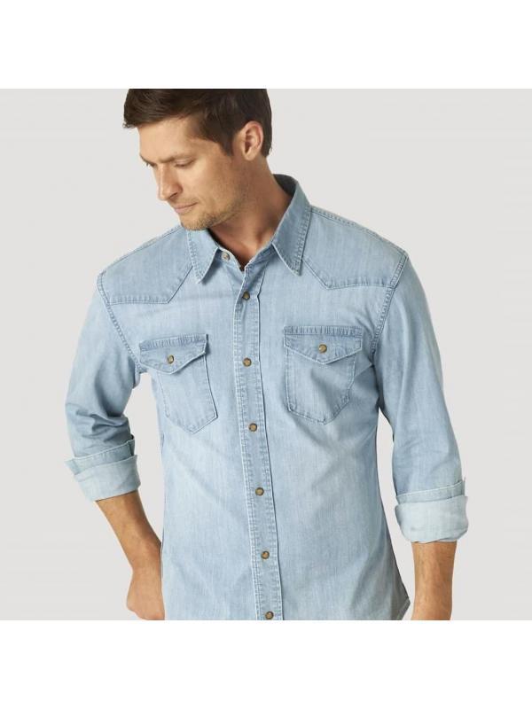 Джинсовая рубашка Wrangler MEN'S COMFORT FLEX DENIM JSD1WWL Liberty Denim