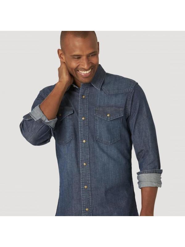 Джинсовая рубашка Wrangler MEN'S COMFORT FLEX DENIM JSD1WWB Stout Blue Denim