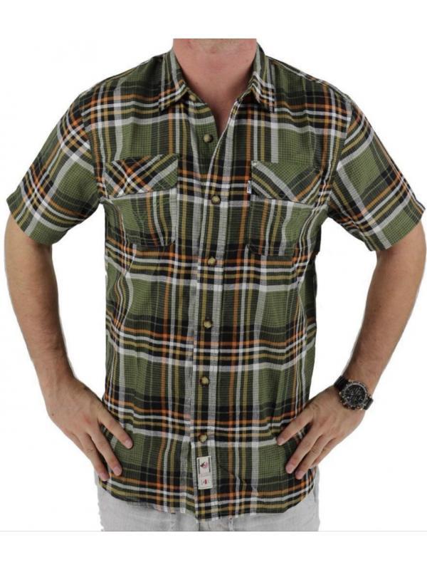 Рубашка Levi's Men's Classic Plaid Short Sleeve Button Up Shirt Olive 3LDSW062