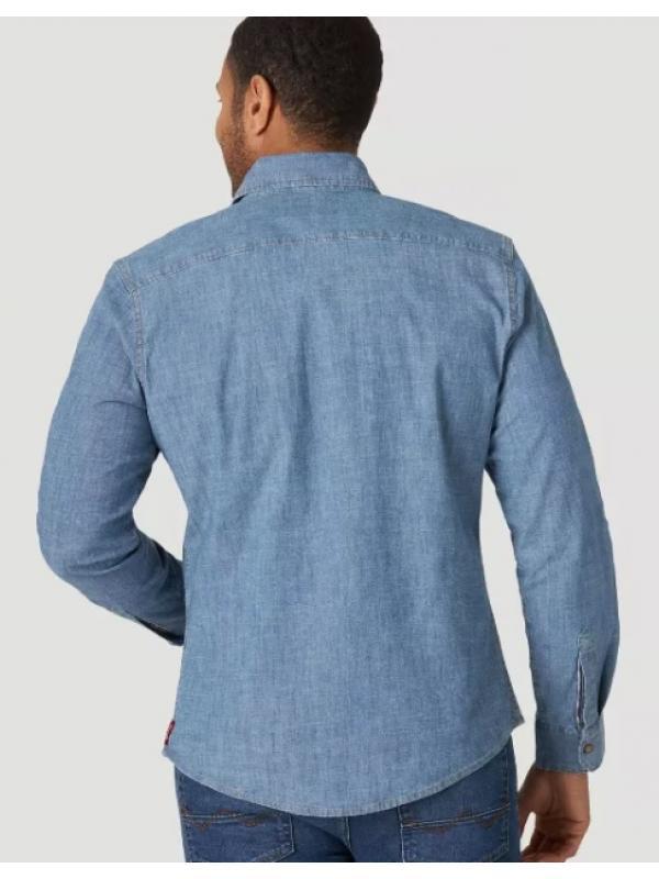 Джинсовая рубашка Wrangler MEN'S DENIM LONG SLEEVE SNAP SHIRT JLD4UWE2