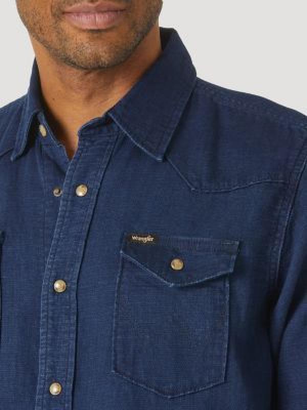 Джинсовая рубашка Wrangler Mens Denim Snap Front Shirt Dark Indigo MTD5WDI